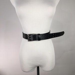 Accessories - Black Leather Double Prong Black Belt Moto M L